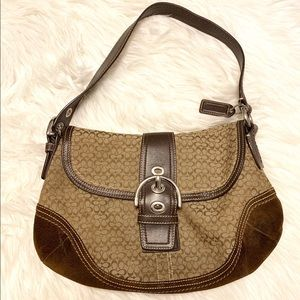 Coach Brown Signature Soho Suede Shoulder Bag